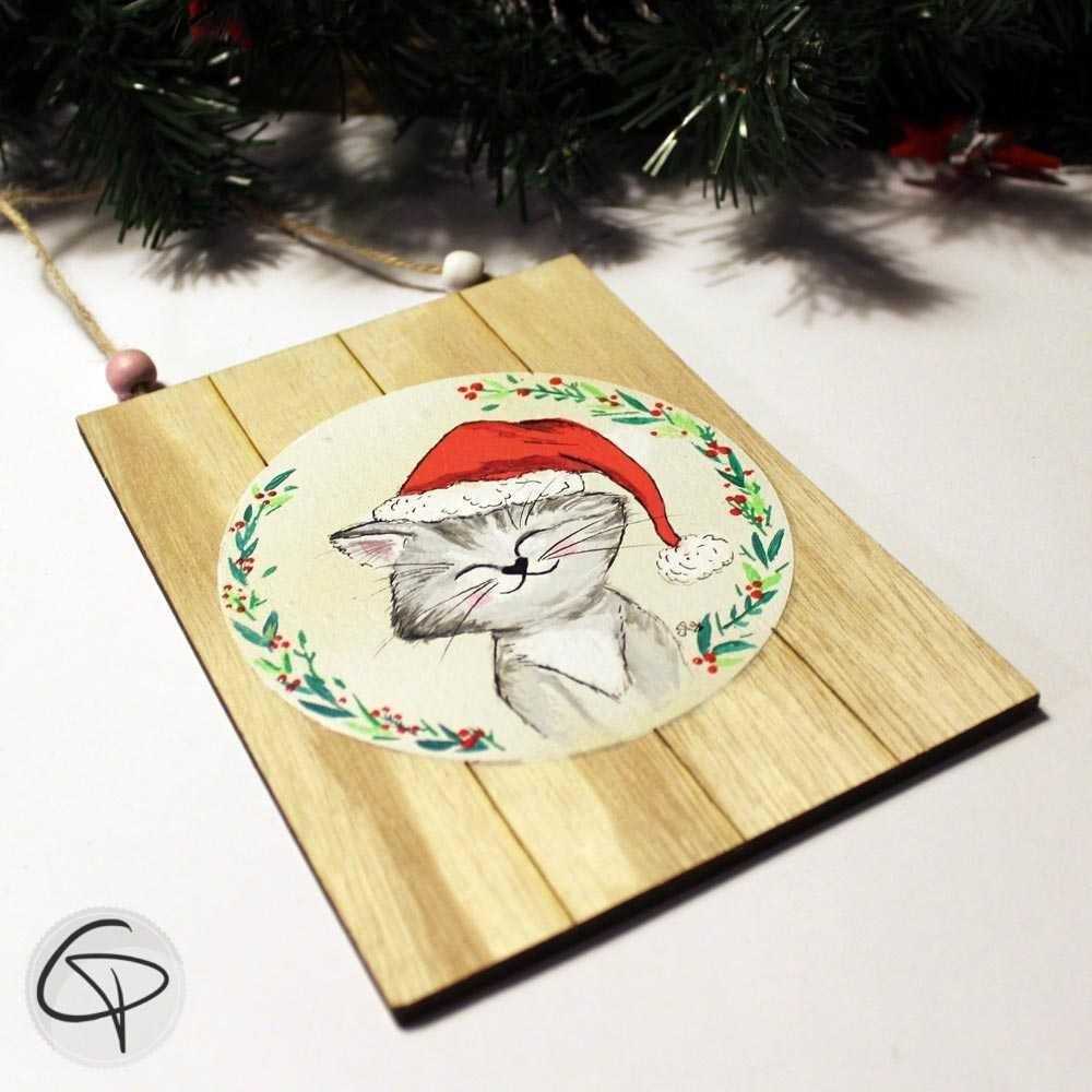 Plaque en bois personnalisable chat décoration Noël