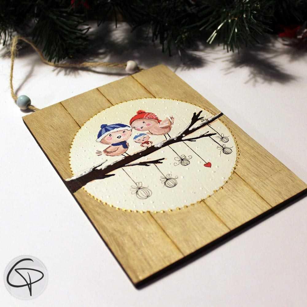 Plaque en bois personnalisable famille oiseaux décoration Noël