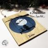 Plaque en bois personnalisable fillette sur balançoire et Père Noël