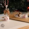 Décoration sapin de Noël fiole en verre noeud sucre d'orge