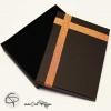 boîte cadeau rectangulaire noir et cuivre pour bijoux