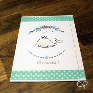 Carte de voeux artisanale illustration petit baleineau personnalisable