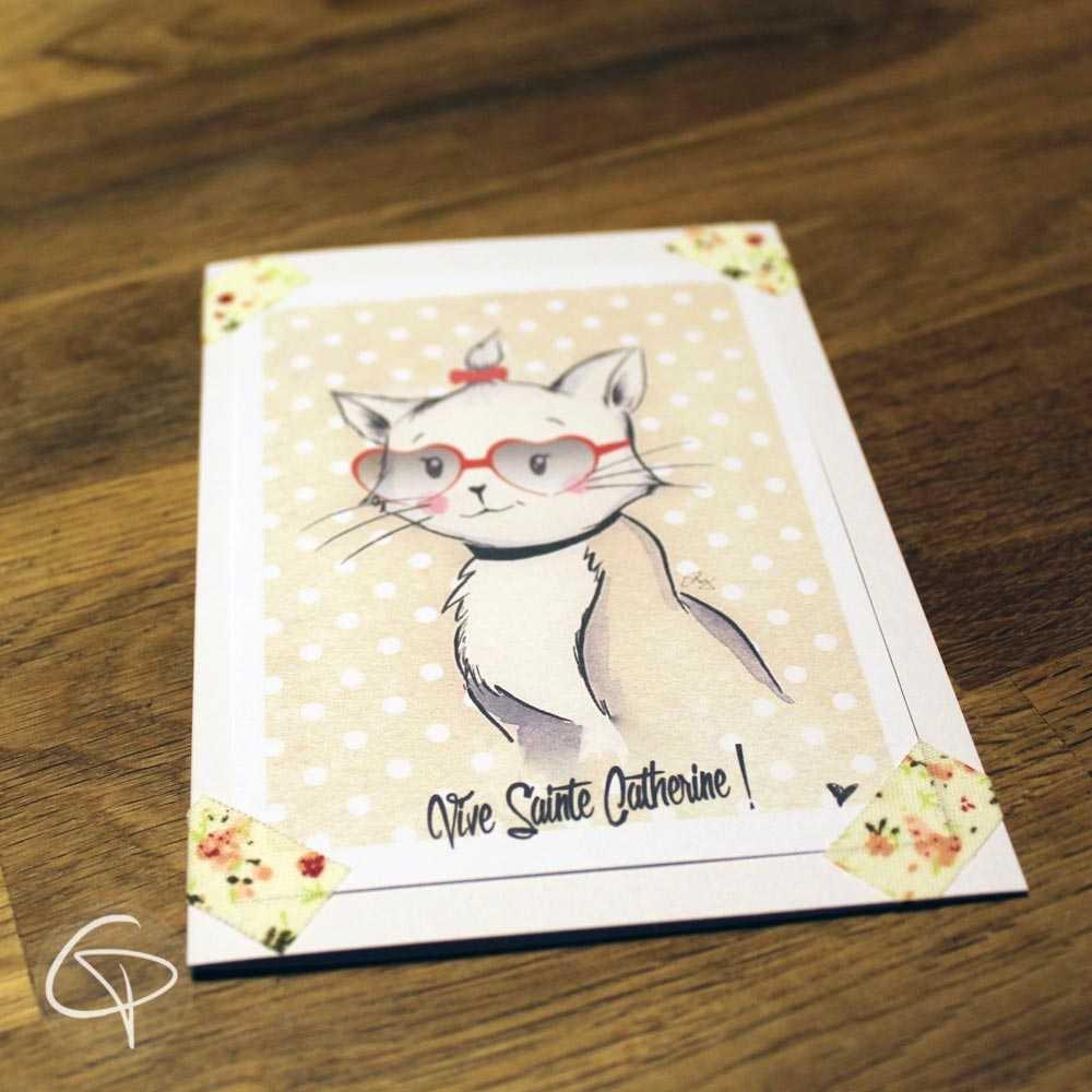 Carte de voeux faite main illustration chatte à lunettes personnalisable