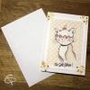 Carte de voeux artisanale illustration chat à lunettes personnalisable