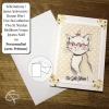 Carte de voeux faite main dessin chat à lunettes rouges à personnaliser