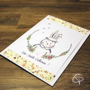 Carte de voeux artisanale dessin personnalisable lapin romantique