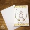 Carte de souhaits artisanale dessin personnalisable lapin romantique