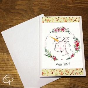 Carte de voeux artisanale illustration mignonne licorne à personnaliser