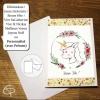Carte de voeux artisanale dessin fait main bébé licorne personnalisable