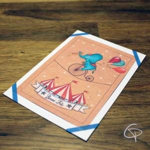 Carte de voeux artisanale dessin éléphant acrobate personnalisé