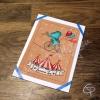 Carte de voeux faite main éléphant bleu funambule joyeuses fêtes