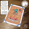 Carte de voeux fabriquée main dessin éléphant bleu message personnalisable