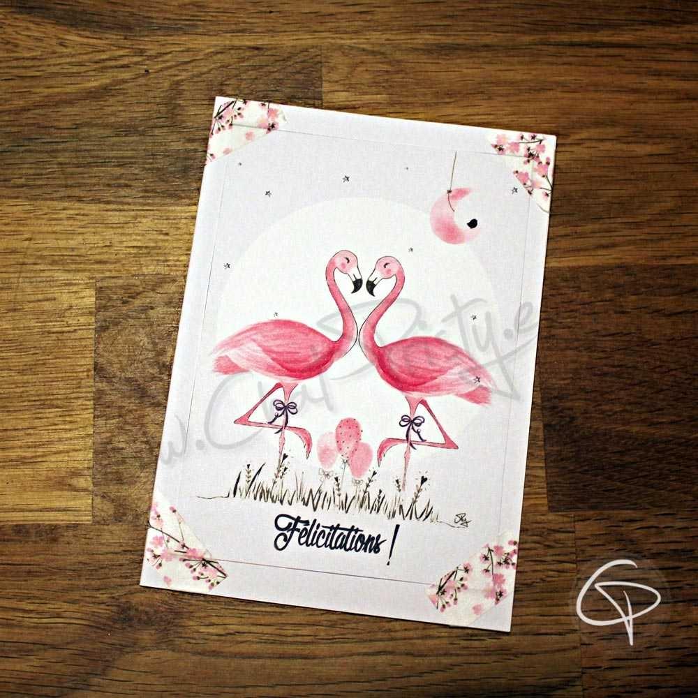 Carte de voeux artisanale couple flamants roses à personnaliser