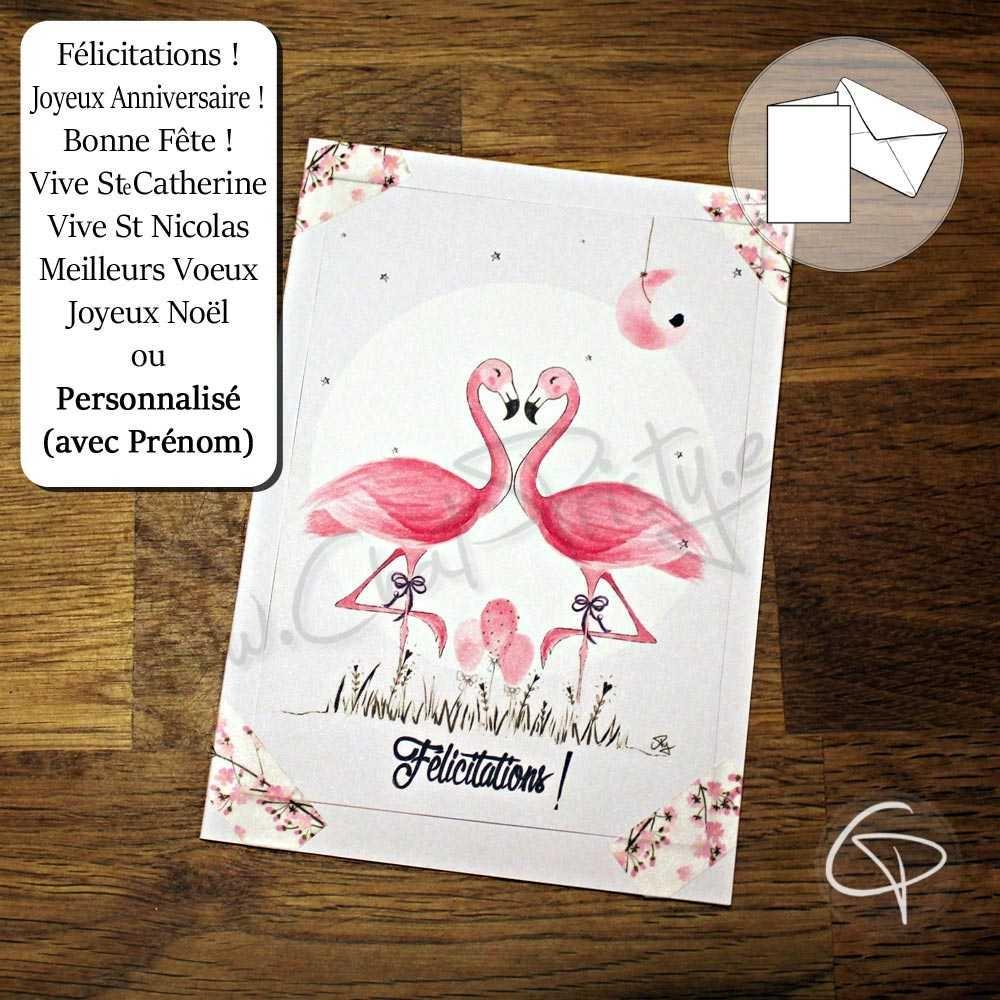 Carte De Voeux Faite Main Personnalisee Dessin Flamants Roses