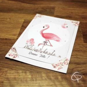 Carte de voeux artisanale illustration flamant rose personnalisable