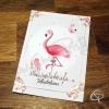 Carte de voeux artisanale illustration flamant rose à personnaliser