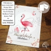 Carte de voeux faite main illustration flamant rose personnalisable