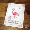 Carte de voeux artisanale illustrée dessin flamant rose personnalisation possible