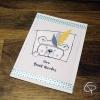 Carte de voeux artisanale illustration ourson à plumes personnalisable