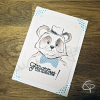 Carte de voeux fabriquée main dessin original panda à personnaliser