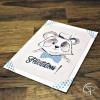 Carte de voeux faite main dessin panda souhait personnalisable
