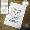 Carte de voeux panda noeud papillon message souhait à personnaliser