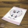 Carte de voeux personnalisée artisanale dessin panda avec fleurs
