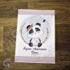 Carte de voeux artisanale dessin panda fleuri personnalisable