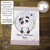 Carte de voeux artisanale illustration panda petite fille message personnalisé