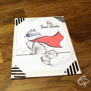 Carte de voeux dessin raton-laveur super-héros personnalisable