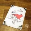 Carte de voeux artisanale illustration raton-laveur super-héros personnalisable