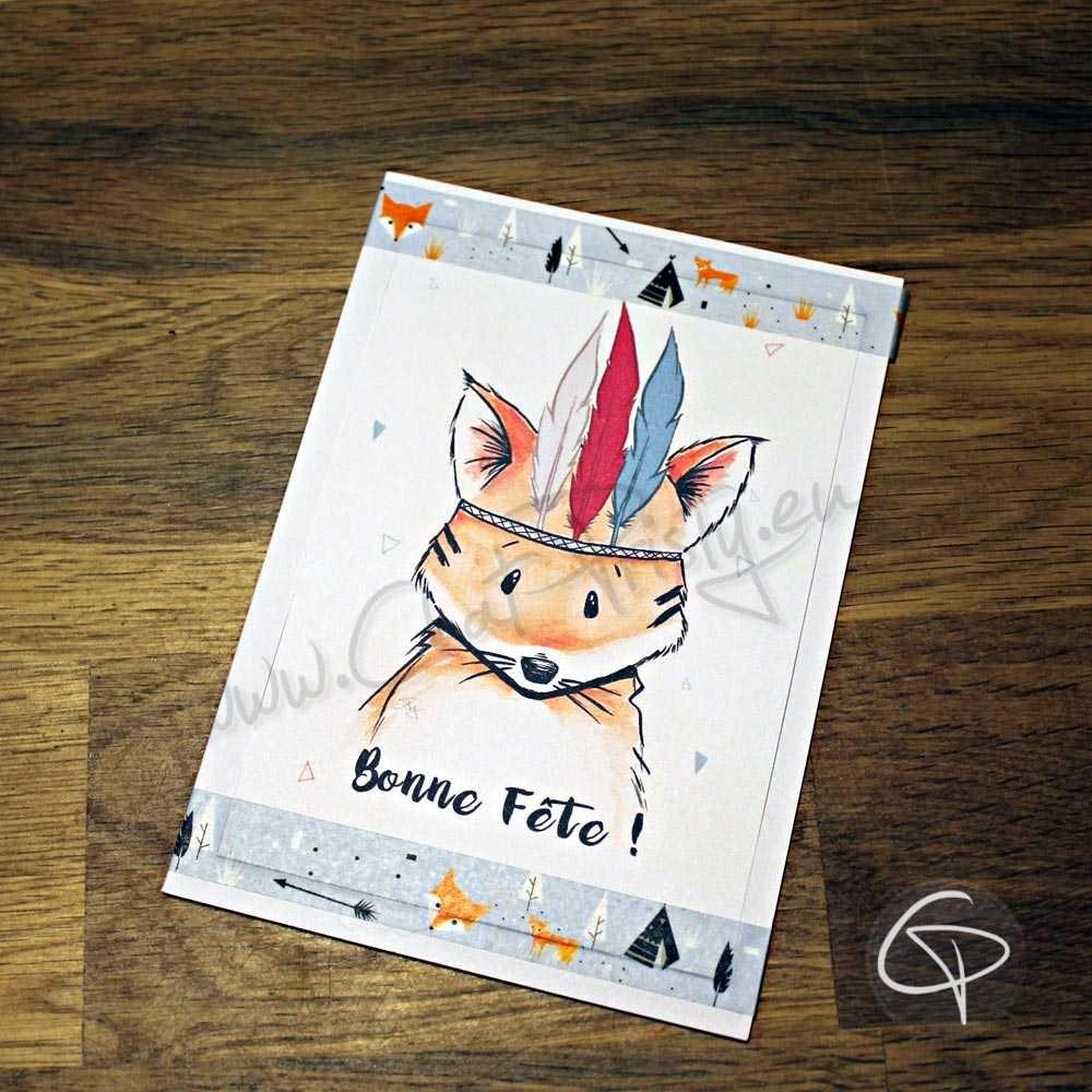 Carte de voeux dessin fait main message personnalisé renard indien