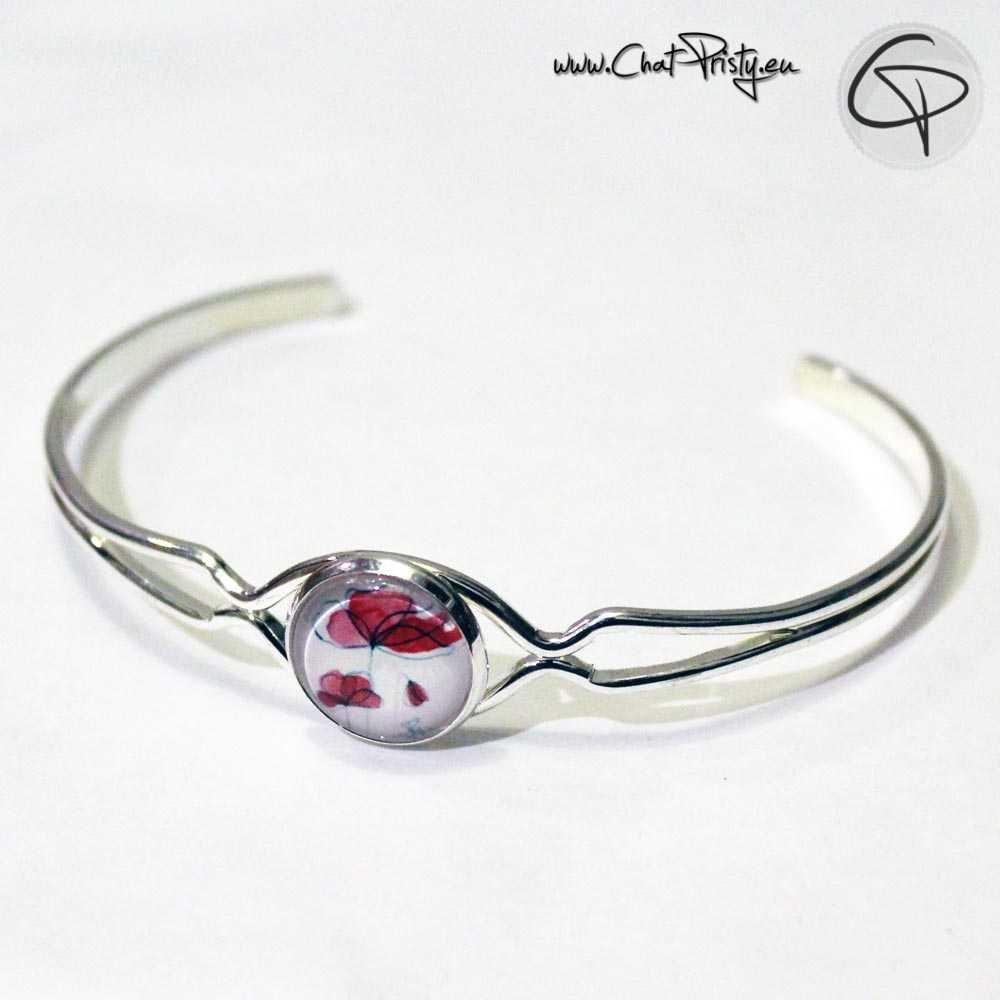 bracelet coquelicots fin jonc argenté ouvert bijoux original femme