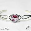 délicat bracelet femme avec fleurs de coquelicot sous verre bijou fait main