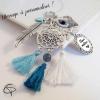 Bijou de sac attrape-rêve pompons bleus coquillage cadeau maîtresse