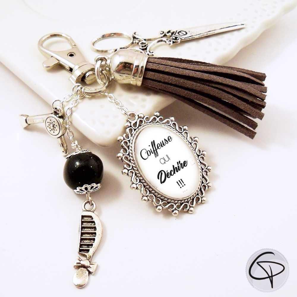 Porte-clé de sac coiffeuse qui déchire à offrir en cadeau original