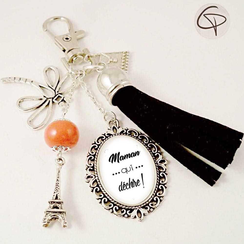 bijou de sac maman qui déchire cadeau original personnalisé pompon noir