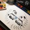 Affiche de naissance pandas jumeaux illustration originale créateur