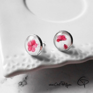 puces d'oreilles argentées coquelicots rouge pastel bijou original délicat femme