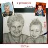Portrait au crayon graphite visage deux personnes d'après photo feuille A4