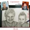 Portrait au crayon de bois visage deux personnes d'après photo papier A3