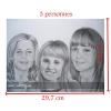 Portrait A4 crayon graphite visage trois personnes dessin fait main