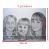 Portrait A3 crayon de papier visage soeurs frères dessin fait main