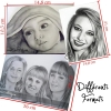Portrait au crayon d'un visage ou plus d'apès photographie format A6 A5 A4 A3 dessin fait main