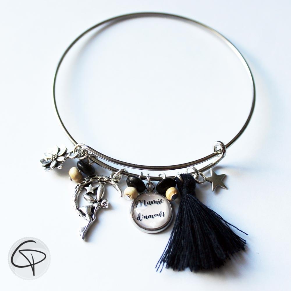 Bracelet mamie d'amour cadeau original fête grand-mère pompon noir fée lune