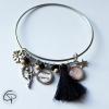 Bracelet mamie 1 médaillon prénom petit-fils ou petite-fille cadeau original grand-mère
