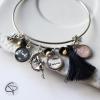 Bracelet mamie 2 médaillons prénom petite-fille cadeau original grand-mère