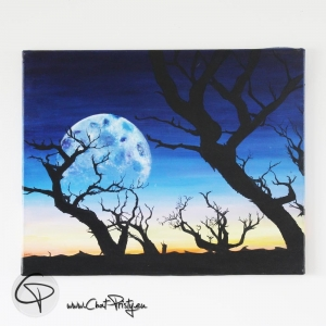 toile acrylique pleine lune nuit arbre mort
