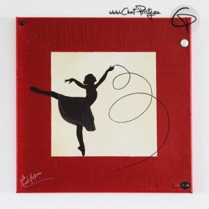 toile carrée silhouette danseuse peinture faite main