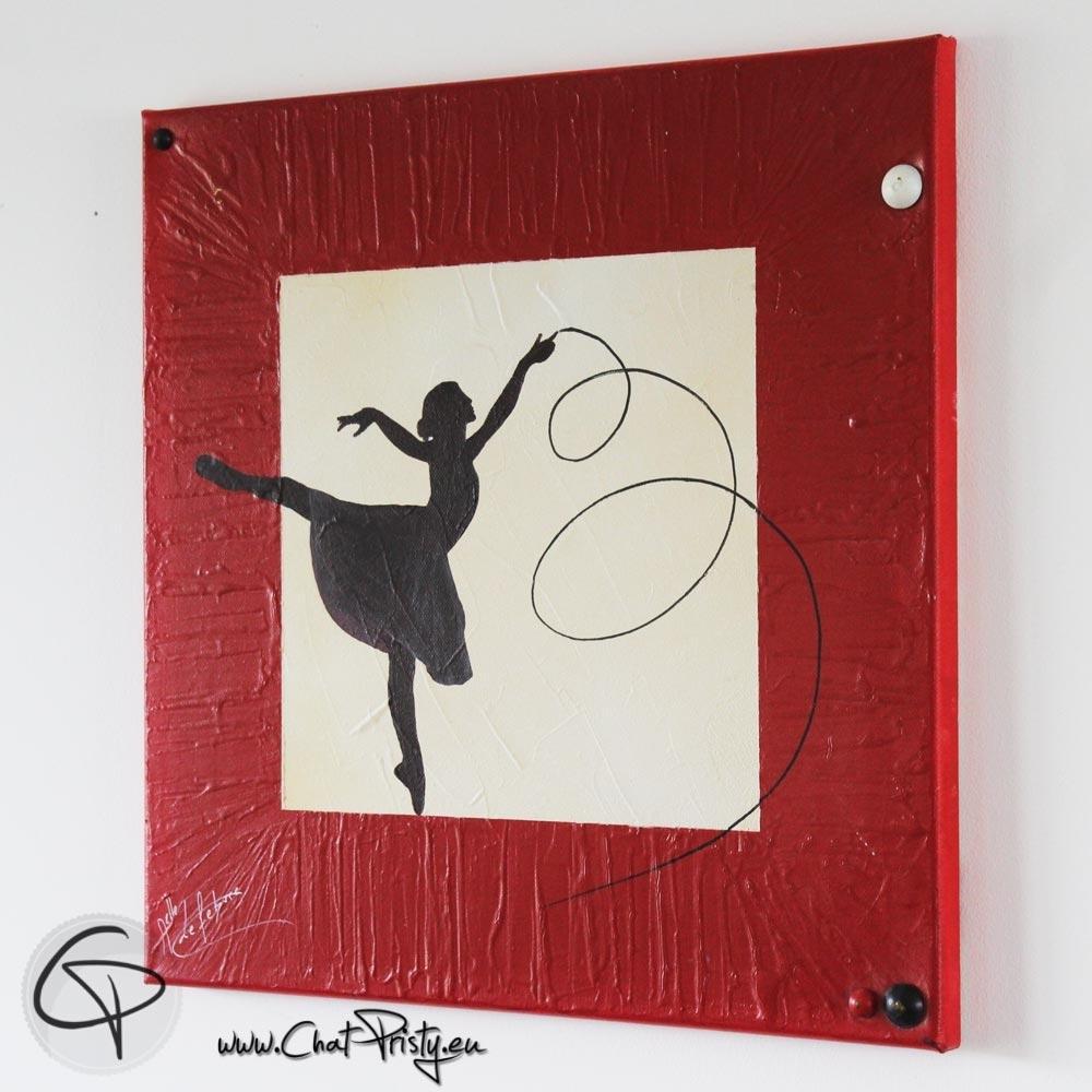 Silhouette Danseuse Avec Ruban Tableau Carre Peint Main